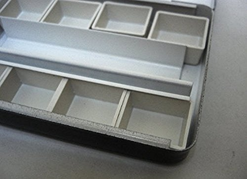 Whiskey Painters Artist Large, Empty 24 Half Pan, Travel Friendly Artist Palette with Clip-On Cups, Fits Half & Full Pans- Hand Made in Italy