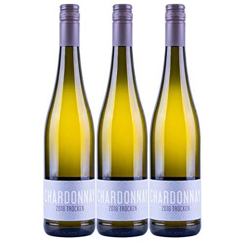 """Nehrbaß - """"Chardonnay 2018"""" - Weißwein trocken 3 x á 0,75 Liter - Qualitätswein - Vegan - Aus Deutschland (Rheinhessen) - mit Schraubverschluss"""