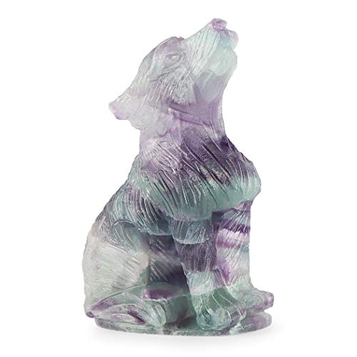 Artistone 2.0' Crystal Wolf Statue,Hand Carved Gemstone Rainbow Fluorite Wolf Decor Gifts Small Animal Carvings Figurines Crystal Healilng Stone for Home Decoration(Gift Box)