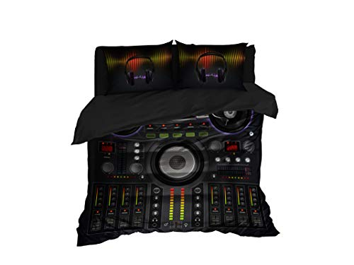 Cool Bedding DJ Mixer Duvet Cover, Professional Sound Mixer Bedding Set of 3 or 4 Pcs, king, queen, full sizes (Full 83'x87')