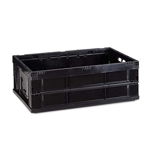 Relaxdays Caja de Almacenaje Rectangular Plegable, Negro, 60 X 40 X 22 cm