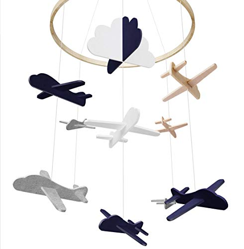 Baby Crib Mobile by Giftsfarm, Airplane & Cloud Baby Mobile, Crib Mobile for Boys Nursery Décor
