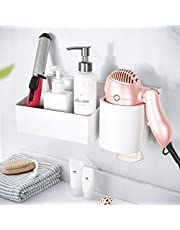 YOHOM Hair Dryer Holder with Storage Basket Adhesive Bathroom Blow Dryer Rack Wall Organizer Shower Caddy Storage Accessories Set for Hair Care Styling Tool Holder
