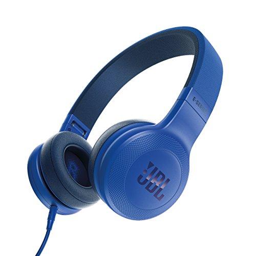 JBL E35  - Auriculares Supraaurales en el Diseño Plegables con Universal de 1Botones de Mando a Distancia y Micrófono extraíble Cable, azul