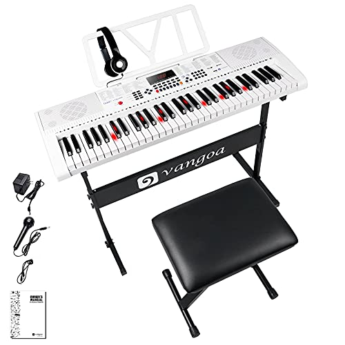 Vangoa Teclado de Piano 61 Teclas Iluminadas Enseñando Electrónicos Teclado Musical con soporte, taburete, micrófono, 600 timbres, 400 ritmos, 30 demos, Blanco
