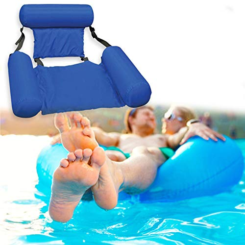N/G Inflatable Water Hammock Floating Bed for Adults,Foldable Backrest Floating Pool Chair Lounge Swimming Pool Hammock Chair Floating Lake Raft Lounger Water Tanning (Bule)