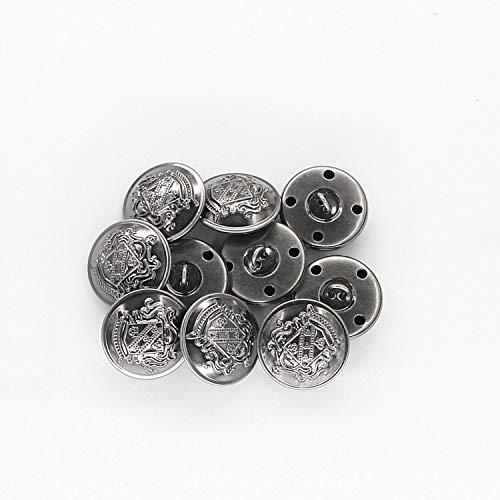 MebuZip 14 Pieces Anchor Antique Silver Metal Blazer Button Set 18MM 23MM for Blazers, Suits, Sport Coats, Uniform, Jackets (MBM25)