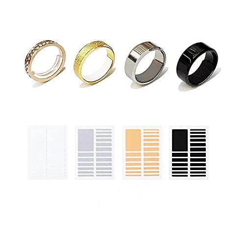 指輪 サイズ調節 透明目に見えないリングサイズジャスター 4色セット(グレー・ホワイト・ブラック・黄) サイズ調整 リングアジャスター テープ リングストッパー用 リングサイズ調整用