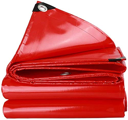 FFJD Tarpaulin for Sun and Rain PVC Coated Cloth Tarpaulin Tear Resistant Aging Resistant Waterproof Tarp Red-3m×6m
