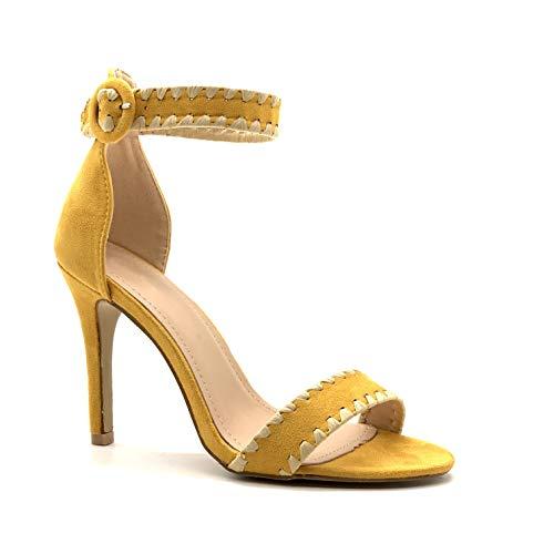 Sandalias amarillas de tacón fino para fiesta