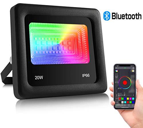 20W RGBW Strahler, ZOTO LED Fluter with Bluetooth APP-Steuerung, 16 Million Farben/3 Weißlichtmodi+27 Modi, IP66 Wasserdicht und Zeit LED Flutlicht, Musiksteuerung, für Innen Außen Garten