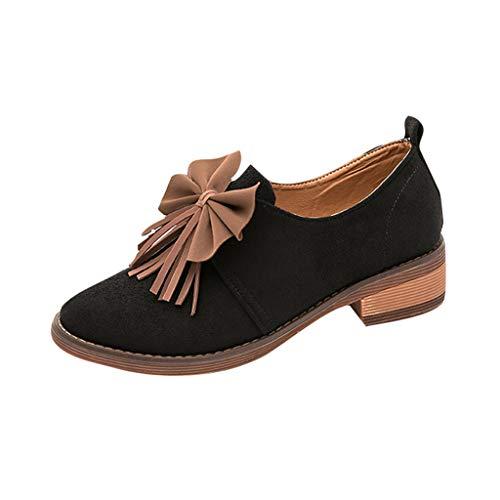 Damen Klassische Pumps Damen Sandaletten High Heels Pumps mit Blockabsatz kleine Lederschuhe Flache Sohle Retro Bow-Knot Women Casual Single Shoes