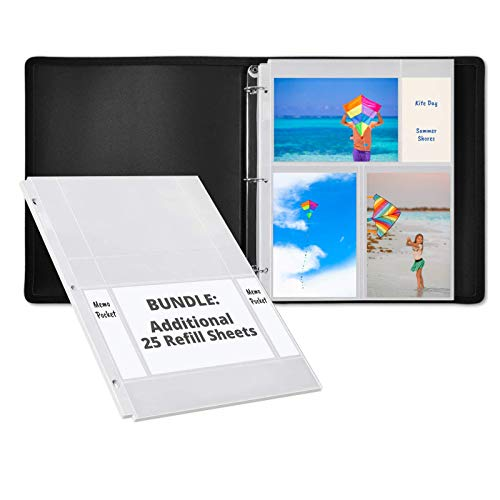 Dunwell Photo Album Refill Pages (4x6 Horizontal, 25 Pack) for 100 Pictures and Photo Album 3-Ring Binder (Black) with Initial 25 Photo Protector Sheets to Hold 150 Pictures
