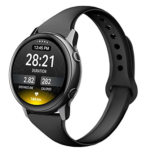 EDIMENS Sportarmband kompatibel mit Samsung Galaxy Watch Active 2 40 mm Band, 20 mm schmales Silikon dünnes Ersatzband für Galaxy Watch 42 mm / Active 2 Damen Herren, Schwarz , 5.5