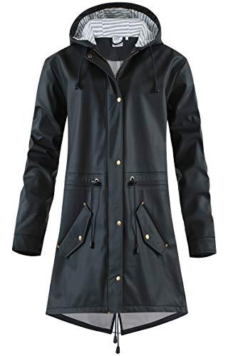 SWAMPLAND Damen PU Regenjacke Mit Kapuze Wasserdicht Übergangsjacke Regenmantel, Schwarz mit Fleece, Gr.- 42 EU/ Large