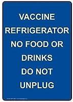ヴィンテージの外観の複製、ワクチン冷蔵庫ない食べ物や飲み物B、壁サインおかしい鉄の絵ヴィンテージ金属プラーク装飾警告サイン吊りアートワークポスターバーパーク