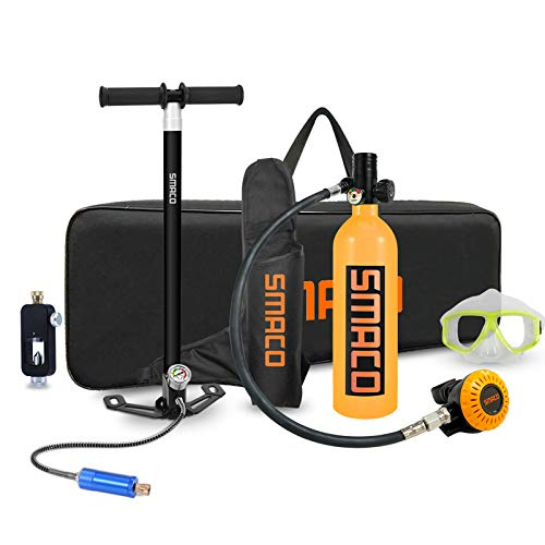 Scuba Diving Tank Mini Scuba Tank with Pump Mini Diving Tank Breath Underwater Device Scuba Cylinder with 15-20 Minutes Diving Oxygen Tank 2020 Upgraded S400+ Scuba Diving Equipment Packages, Orange-D