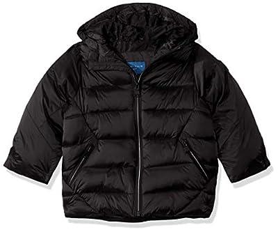 Perry Ellis Boys' Little Iridescent Puffer Jacket, Black, 4