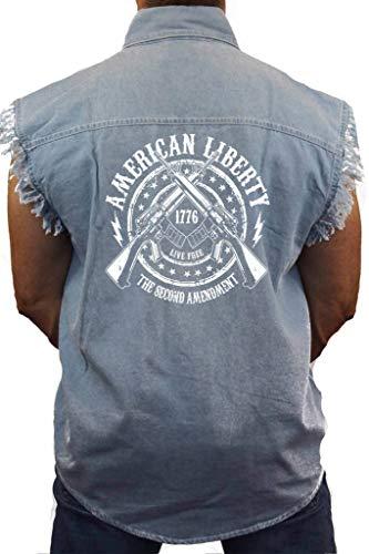Men's Sleeveless Denim Shirt American Liberty 2nd Amendment: L Denim (LG)