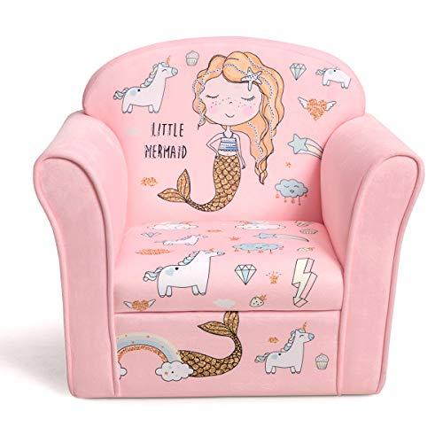 COSTWAY Kindersessel Meerjungfrau Kindersofa Kindercouch Babysessel für Mädchen und Jungen Kindermöbel Kinder Sessel Schaumstoff (Rosa)