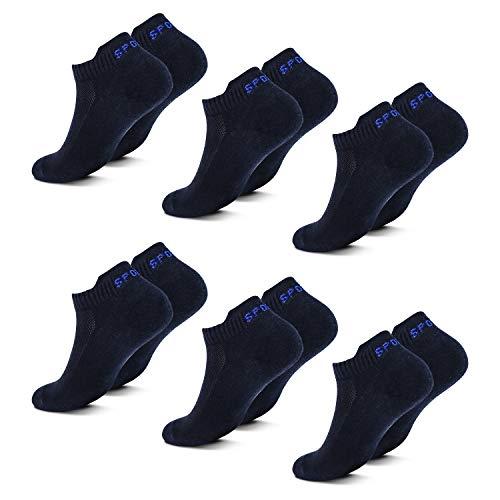 Fullluwaa 6/12 Paar Sneaker Socken Herren Damen Kurze Halbsocken Sportsocken Männer Baumwolle(Schwarz x6, 43-46)