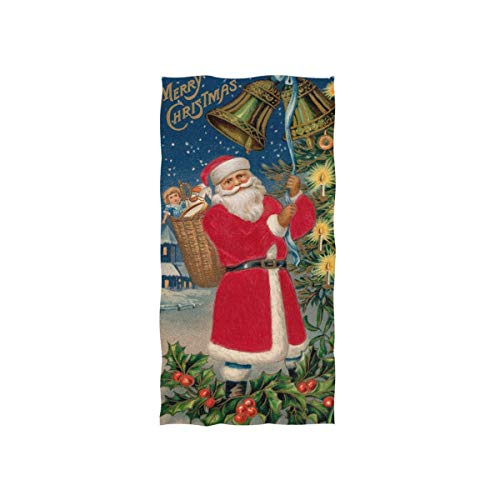 Vintage Jingle Bell Santa Claus Christmas Tree Holly Berry Hand Towels Soft Highly Absorbent Decorative Multipurpose Towel for Bathroom,Face,Gym and Spa (27.5'x15.7')