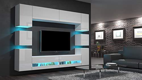 Home Direct Heidi N36 Weiß Modernes Wohnzimmer Wohnwand Wohnschrank Schrankwand Möbel Mediawand (AN36-18HG-W2 1A ohne Füße, Led RGB (16 Farben))