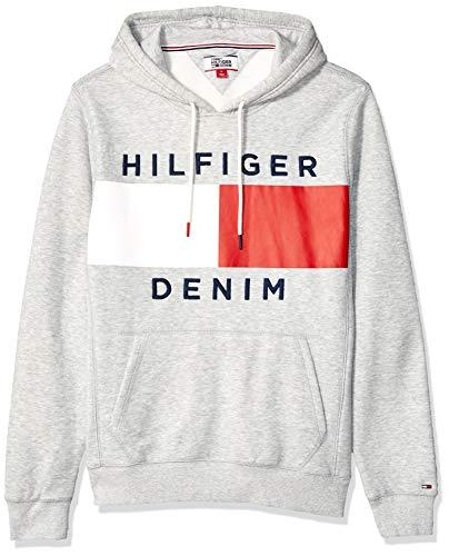 Tommy Hilfiger Men's THD Hoodie Sweatshirt, Light Grey Denim Heather, XL