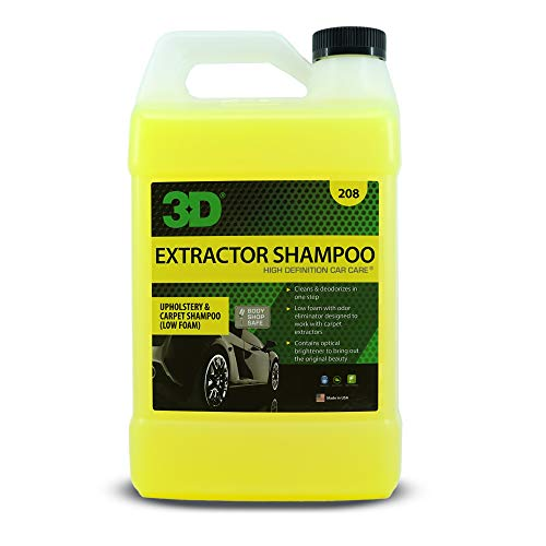 3D Extractor Carpet Shampoo - Upholstery Cleaner & Odor Eliminator - No Residue, Low Foam 1 Gallon