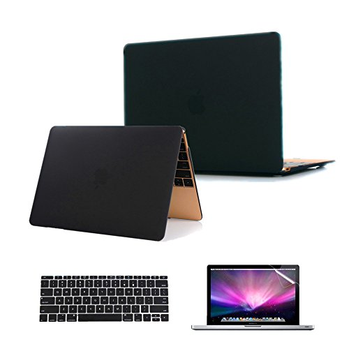 Se7enline Case for Macbook 12 inch 2015/2016/2017/2018 Plastic Hard Case Cover for Macbook 12 inch Retina Display Model A1534/A1931, Silicone Keyboard Protector, Clear LCD Screen Protector, Black