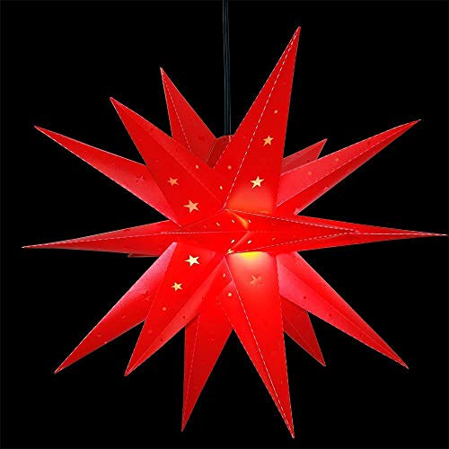 3D Weihnachtsstern Außen Batterie Timer - LED Adventsstern Stern, Fenster Stern Deko, Partys Oder Weihnachten Dekoration, Für Innenhof, Balkon Und Garten(58cm) - Qijieda-Rot