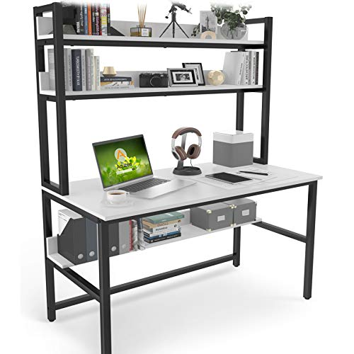 Computer Desk with Hutch and Bookshelf, 47 Inches White Home Office Desk with Space Saving Design, Metal Legs Table Desk with Upper Storage Shelves for Study Writing/Workstation, Easy Assemble