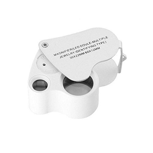 Giveet 30X 60X Dual Lens Lupe mit LED-Leuchten, Pocket Schmuck Lupe beleuchtet Lupe für EDC, Schmuck, Münzen, Hobby, Inspektion, Briefmarken, Reisen