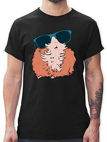 Sonstige Tiere - Meerschweinchen mit Sonnenbrille - 3XL - Schwarz - Tshirt Tiere - L190 - Tshirt Herren und Männer T-Shirts
