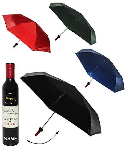 alles-meine.de GmbH 2 Stück _ Weinflasche als - Taschenschirm -  in grün / schwarz / rot / blau  - ø 98 cm - incl. Name - Regenschirm / Erwachsenenschirm / Kinderschirm / - Wei..