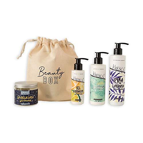 Beauty Box La Fresca! Capilar para cabellos normales con extractos naturales, ecológicos y veganos. Pack regalo original para Navidad, San Valentin o el amigo invisible.