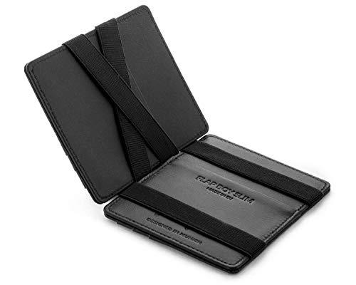 JAIMIE JACOBS Flap Boy Slim - Das Original - Magic Wallet ohne Münzfach integrierter RFID Schutz Magischer Geldbeutel Echtleder (Schwarz)