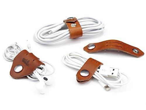 Pack & Smooch Kabel Organizer Set, Kabelhalter, Kabelbinder 100% Pflanzlich gegerbtes Leder Made in Germany, Hellbraun