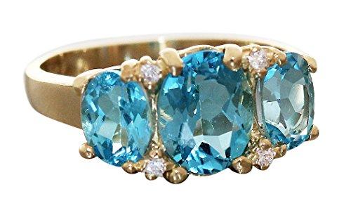 Hobra-Gold Ring Gold 750 mit Blautopas Damenring 18 Karat eleganter Goldring RW 57