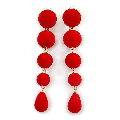 Long Statement Red Velvet Effect Bead Drop Earrings In Gold Tone - 85mm L