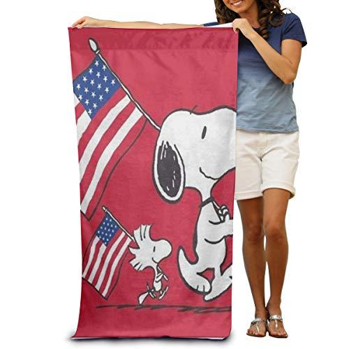 Toallas de playa de viaje livianas, toallas superabsorbentes, secado rápido, toallas de piscina, Snoopy bandera estadounidense