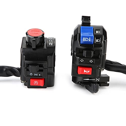 1 par Universal 7/8 pulgadas motocicleta manillar bocina luz de señal de giro interruptor de control de arranque negro