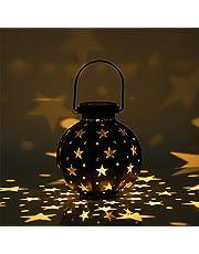 Solar Lantern Outdoor Garden Light Metal LED Decoratieve Sfeer Opknoping Lichten Waterdicht Zonne-energie voor voordeur Binnenplaatsen Partijen Walkway Party Halloween Decoratieve