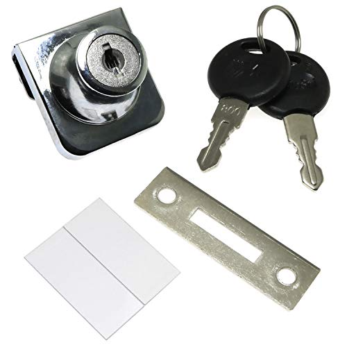 RLECS Door Single Glass Lock with Keyed Alike,Cabinet Display Showcase Door Push Glass Locks Zinc Alloy Furniture Hardware Fittings