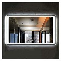 フレームレス壁掛けLedイルミネーションミラー洗面鏡透明バスルームミラー(カラー:クロスホワイトライト、サイズ:60x80cm)