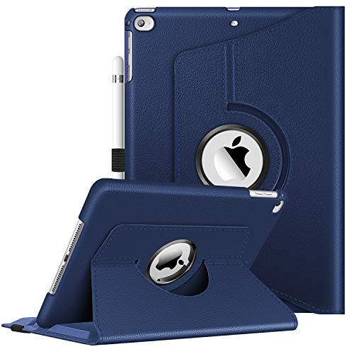 Fintie Funda Giratoria para iPad 9.7 (2018/2017), iPad Air 2, iPad Air - Rotación de 360 Grados Carcasa con Función de Soporte y Auto-Reposo/Activación, Azul Oscuro