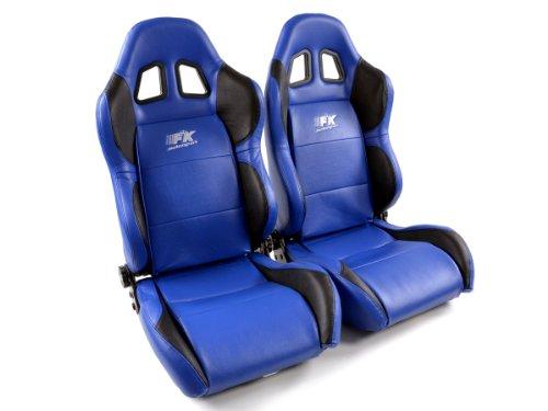 Sportsitz Set Houston Kunstleder blau/schwarz Naht blau