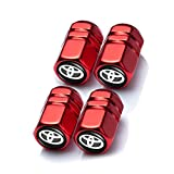 Menglianmin Car Wheel Tire Valve Stem Caps Logo Personality Modification Valve Cap Modeling Accessories Suit for Toyota Camry Yaris Corolla 4Runner RAV4 Highlander Land Cruiser Prius (4PCS Red)