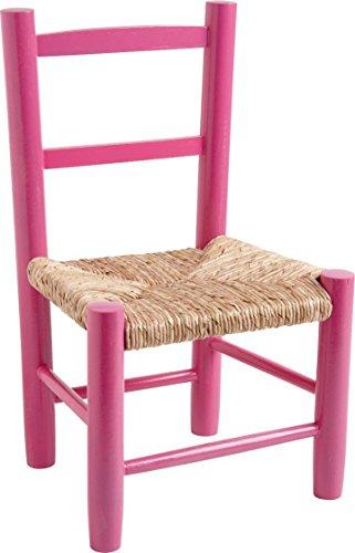 Chaise enfant en bois laqué rose