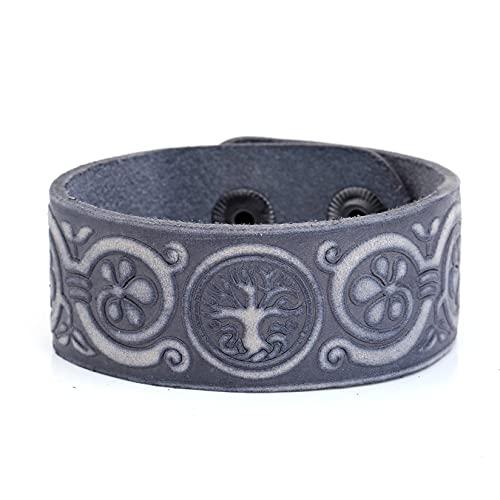 AMOZ Vintage Irish Celtic Knot Triskele Triskelion Yinyang Amulet Pulsera de Cuero para Hombres Y Mujeres,Azul